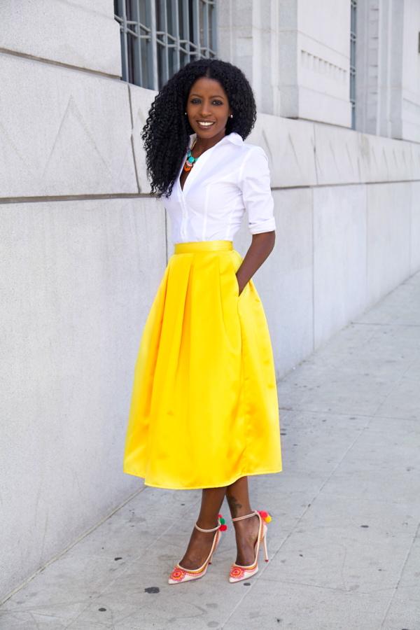 full yellow skirt statement shoes