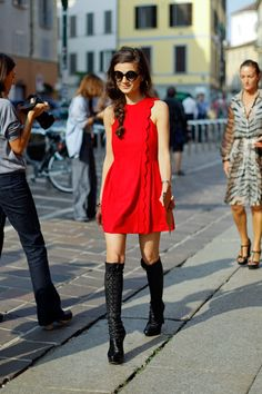 red dress knee boots
