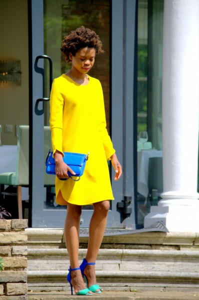 yellow dress contrast shoes