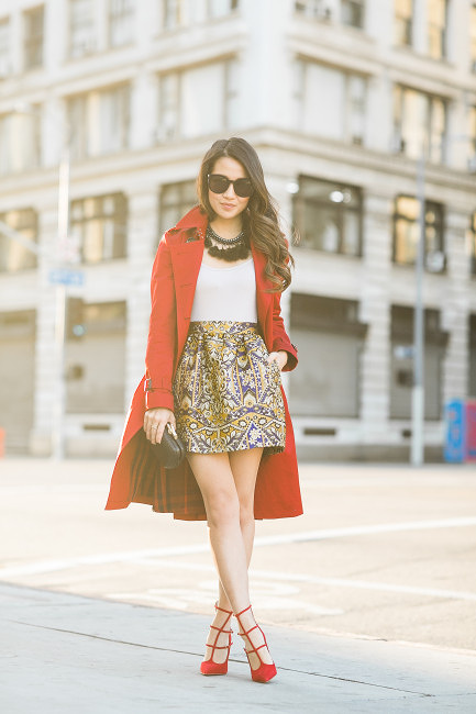 red shoes red trench