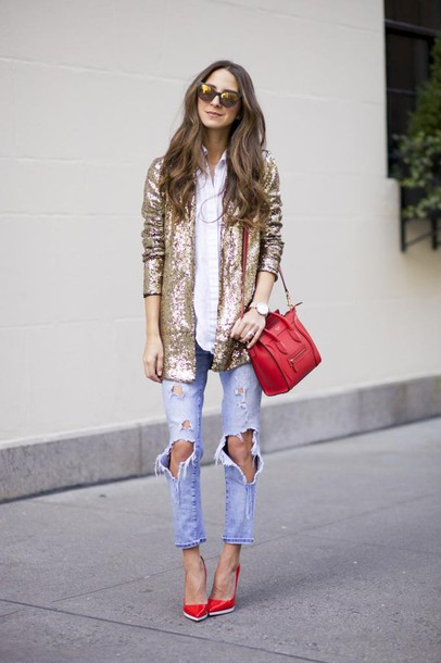 ymnozr-l-610x610-navy-blogger-ripped+jeans-red+heels-red+bag-glitter-jacket-mirrored+sunglasses